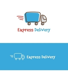 cartoon truck logotype Express delivery vector image