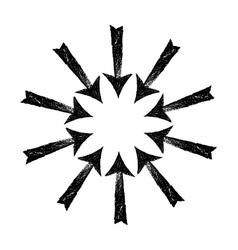 Circle of black grungy arrows vector image vector image