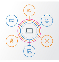 Computer outline icons set collection of laptop vector