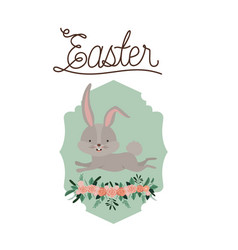 easter poster with bunny in frame with ornament vector image