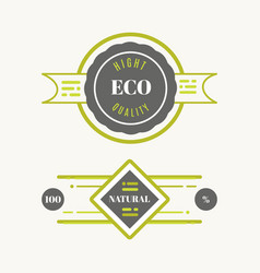 Eco icons labels set organic tags natural vector