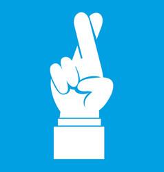 Fingers crossed icon white vector