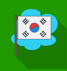Flag of south korea icon in flate style isolated vector