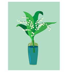 Flat design A valley lily in a vase vector image vector image