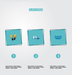 flat icons swimming hat sea and other vector image vector image