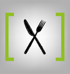 fork and knife sign black scribble icon vector image