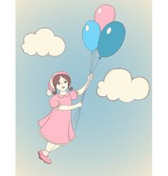 Girl balloons vector