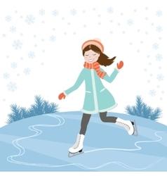 Girl on skates vector image