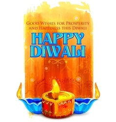 Happy diwali background with coloful watercolor vector