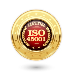 ISO 45001 certified medal - occupational health vector image vector image