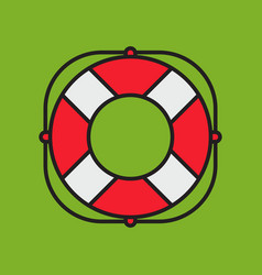 lifesaver on green background simple flat style vector image vector image
