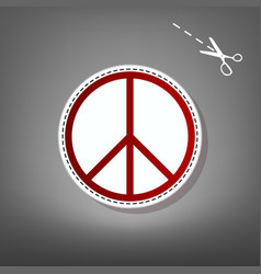 peace sign red icon with for vector image vector image