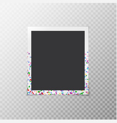 Photo frame with confetti vector