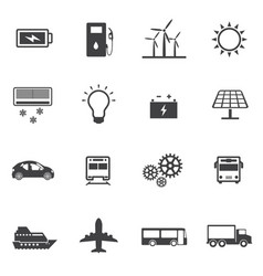 renewable energy and ecology icon set vector image vector image