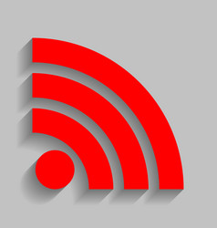 Rss sign red icon with soft vector