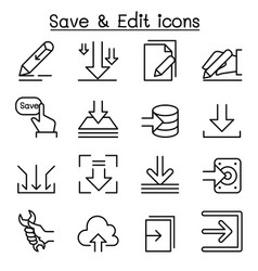 Save edit data icon set in thin line style vector