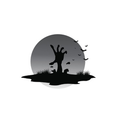 Scary halloween hand zombie of silhouette vector