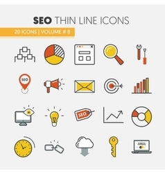 SEO and Development Thin Line Icons vector image vector image