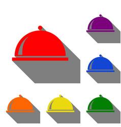 Server sign set of red orange vector