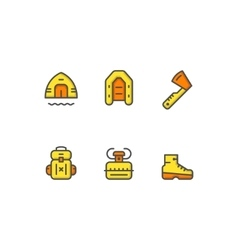 Set color line icons of camping vector image vector image