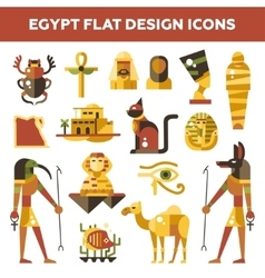 Set of flat design egypt travel icons vector