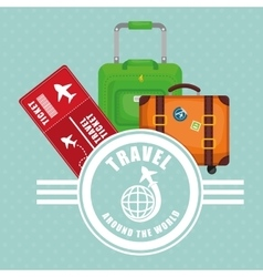Travel around world ticket suitcase luggage label vector