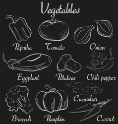 Vintage vegetables Hand-drawn chalk blackboard vector image