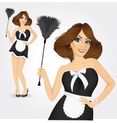 Young maid in classic maid dress vector