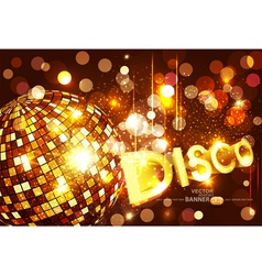 disco background with golden disco ball vector image