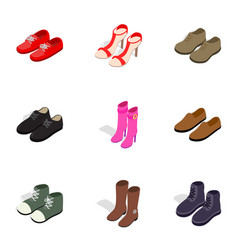 Footwear icons isometric 3d style vector