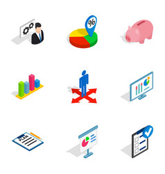 company strategy icons isometric 3d style vector image