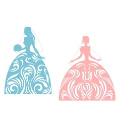 Young bride silhouette vector image