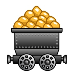 Iron mine cart with gold vector