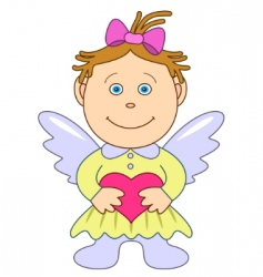 girl angel with heart vector image