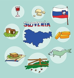 Set of national profile of the slovenia vector