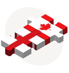 England and canada flags in puzzle vector
