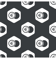 Black hexagon euro coin pattern vector