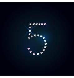 Gems 5 number Shiny diamond font vector image