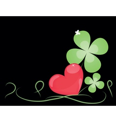 Background with big heart and sheets clover vector