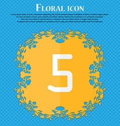 Number five icon sign floral flat design on a blue vector