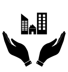 Real estate in hand icon vector