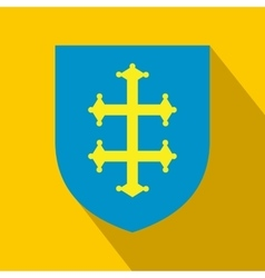 Heraldic cross of france on a shield icon vector