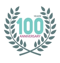 Template logo 100 anniversary in laurel wreath vector