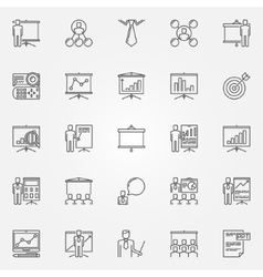 Presentation icons set vector