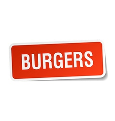 Burgers red square sticker isolated on white vector