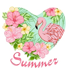 Pink tropical flowers and flamingo vector