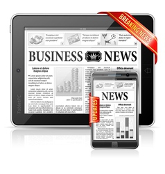 Breaking News Concept - Tablet PC Smartphone vector image