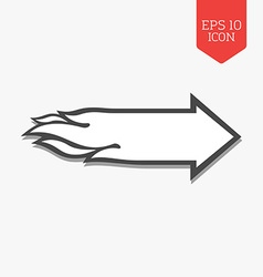 Flaming arrow icon speed concept flat design gray vector