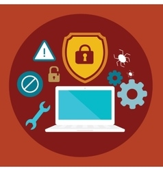 Anti virus security computer locked shield flat vector