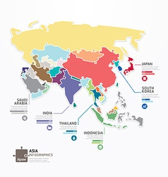 Asia infographic map template jigsaw concept vector